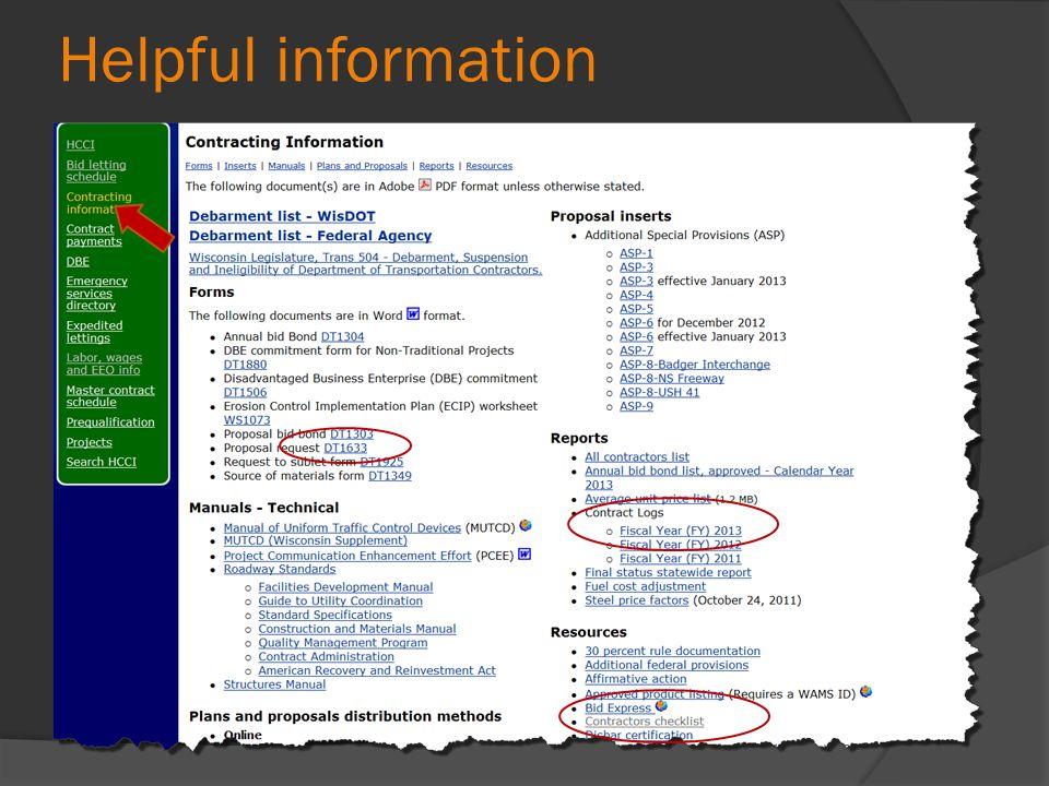 Helpful information