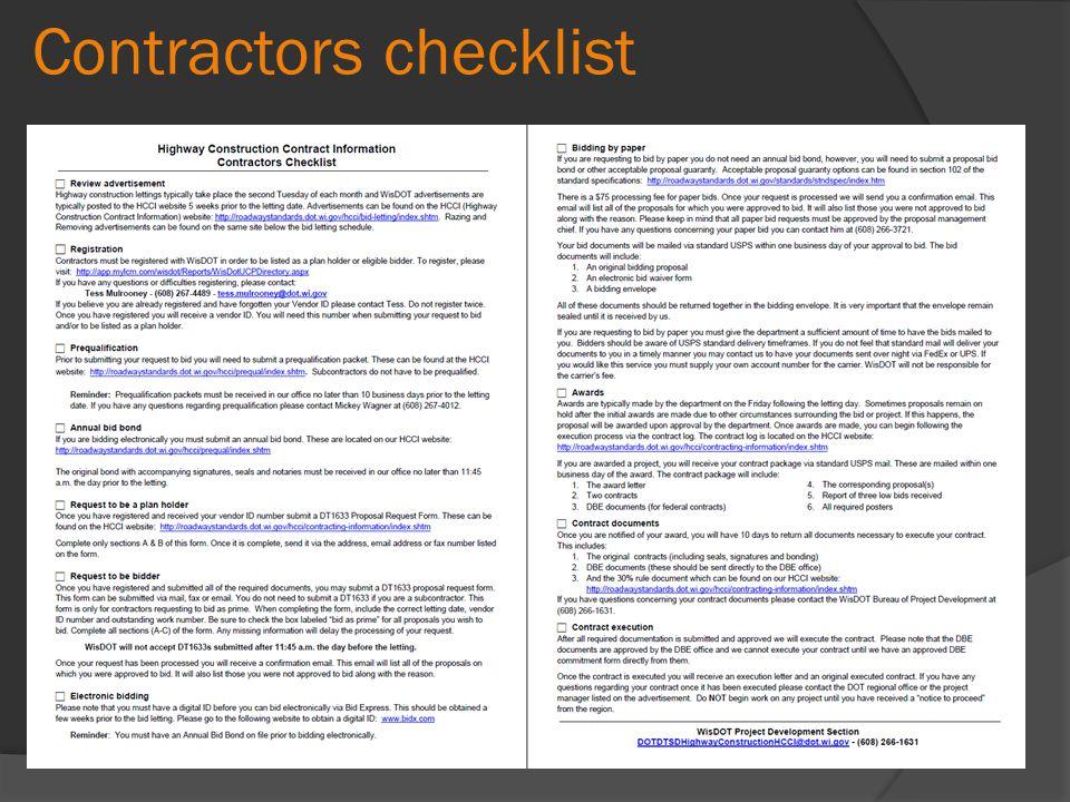 Contractors checklist
