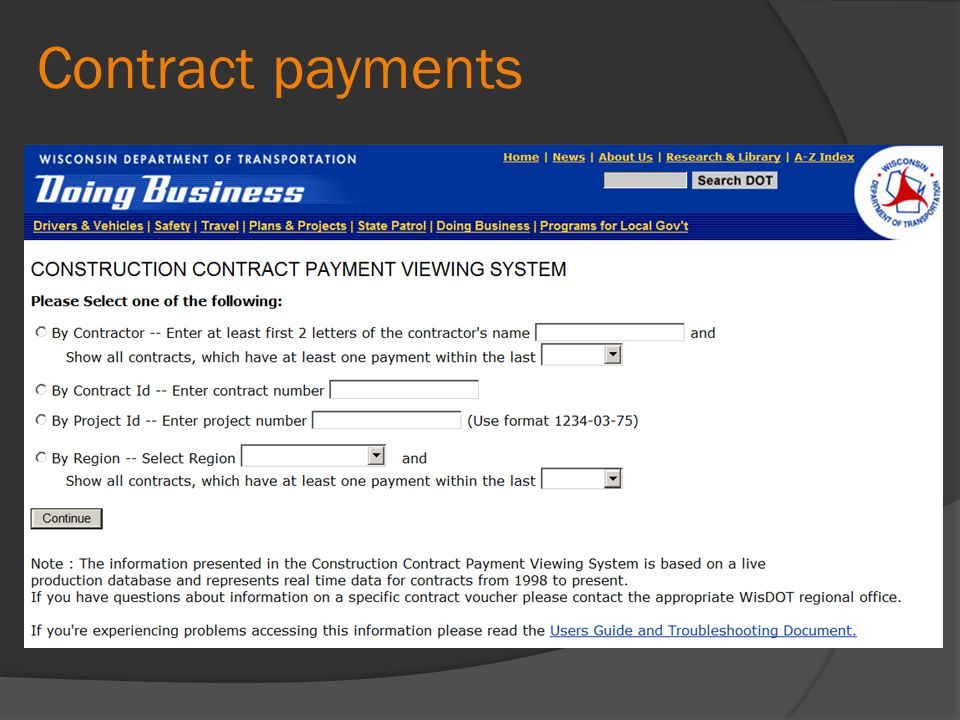 Contract payments