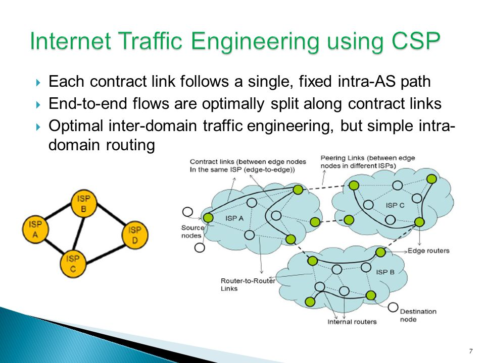 Each contract link follows a single, fixed intra-AS path End-to-end flows are optimally split along contract links Optimal inter-domain traffic engineering, but simple intra- domain routing 7