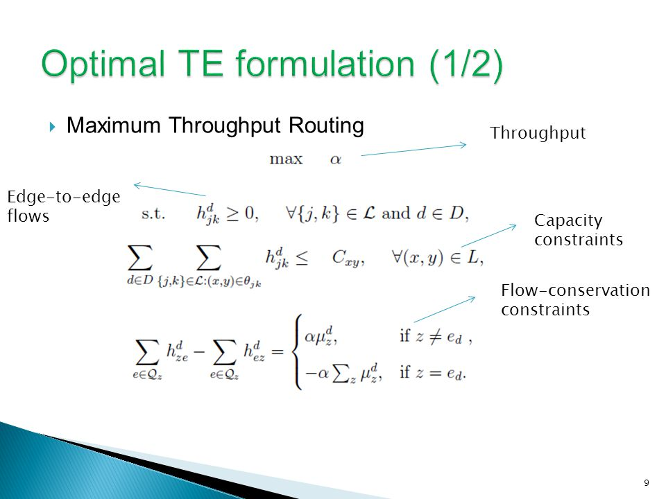 Maximum Throughput Routing 9 Capacity constraints Flow-conservation constraints Edge-to-edge flows Throughput