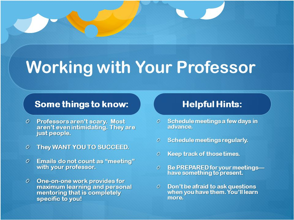 Working with Your Professor Some things to know: Professors arent scary. Most arent even intimidating. They are just people. They WANT YOU TO SUCCEED.