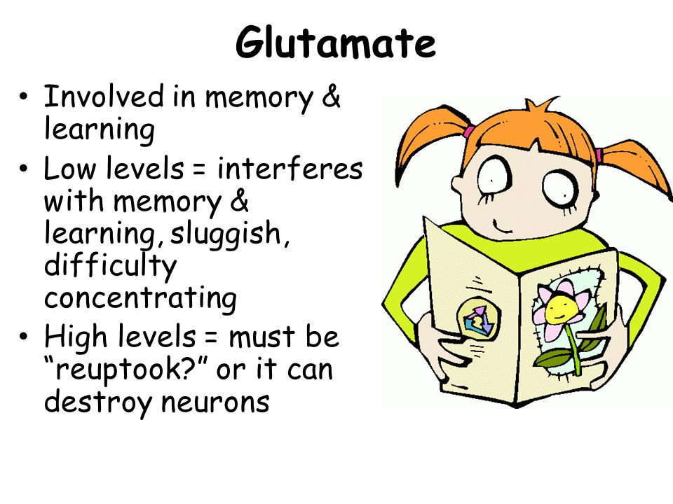 Glutamate Involved in memory & learning Low levels = interferes with memory & learning, sluggish, difficulty concentrating High levels = must be reuptook.