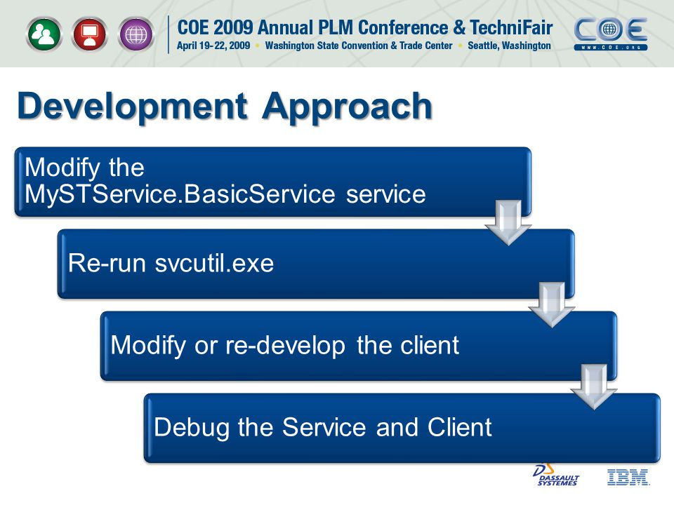 Development Approach Modify the MySTService.BasicService service Re-run svcutil.exeModify or re-develop the clientDebug the Service and Client