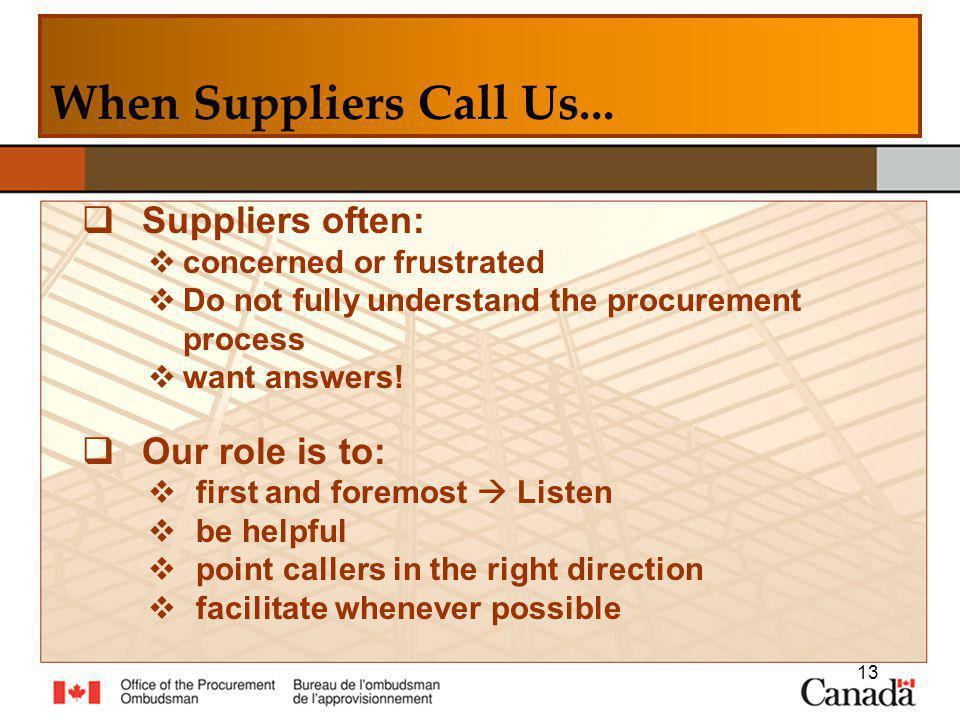 Suppliers often: concerned or frustrated Do not fully understand the procurement process want answers.