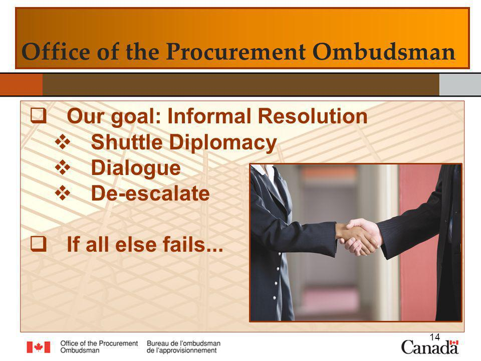 Office of the Procurement Ombudsman Our goal: Informal Resolution Shuttle Diplomacy Dialogue De-escalate If all else fails...