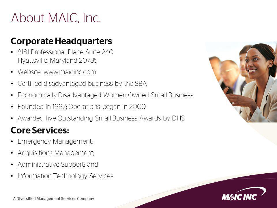 2 About MAIC, Inc.