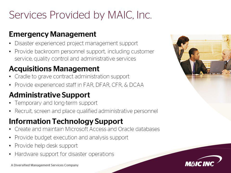 3 Services Provided by MAIC, Inc.