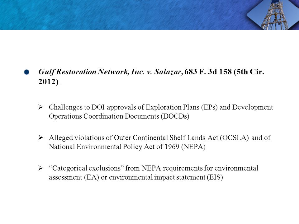 Gulf Restoration Network, Inc. v. Salazar, 683 F.