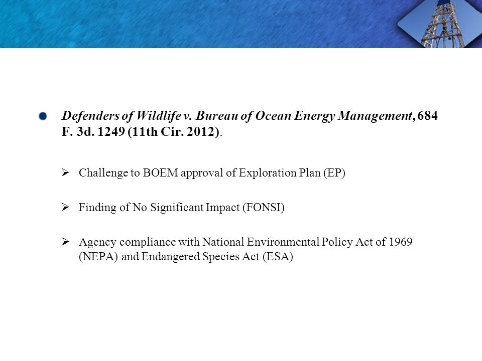 Defenders of Wildlife v. Bureau of Ocean Energy Management, 684 F.