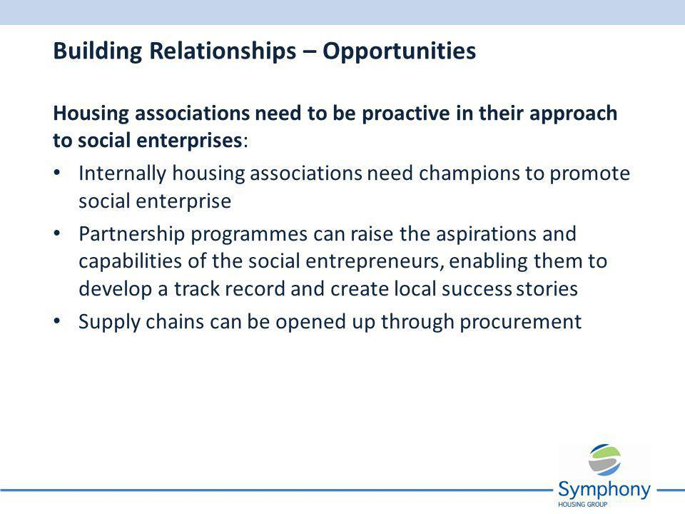Housing associations need to be proactive in their approach to social enterprises: Internally housing associations need champions to promote social enterprise Partnership programmes can raise the aspirations and capabilities of the social entrepreneurs, enabling them to develop a track record and create local success stories Supply chains can be opened up through procurement Building Relationships – Opportunities