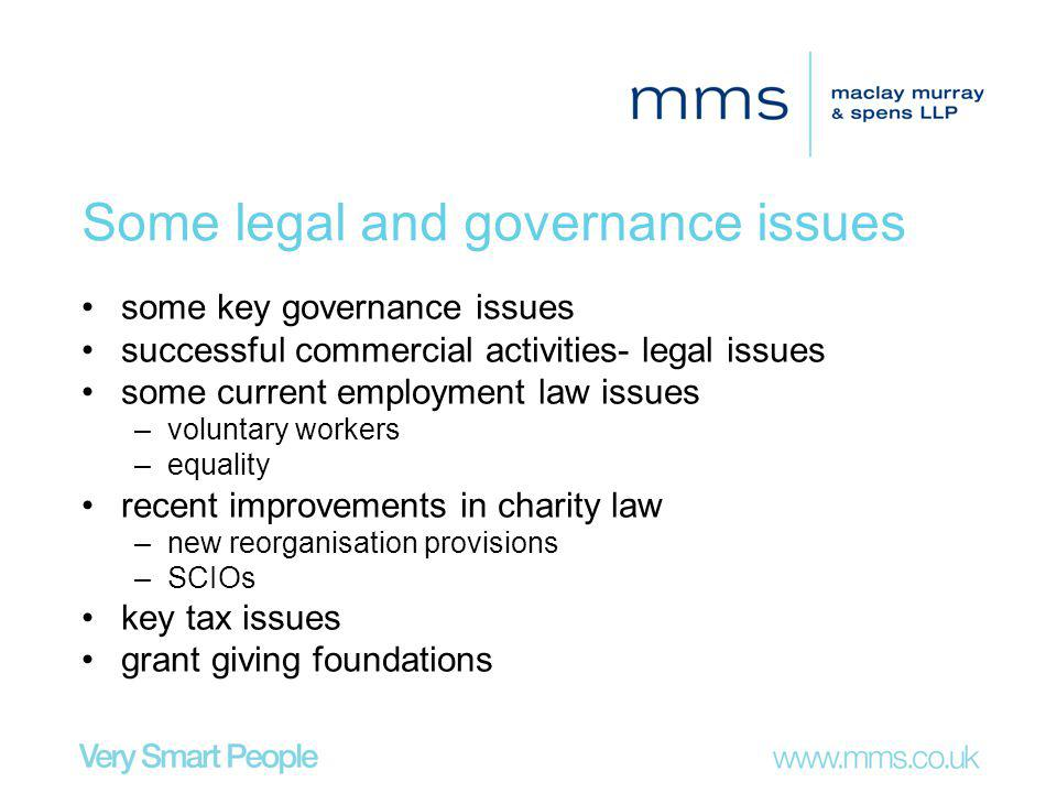 Some legal and governance issues some key governance issues successful commercial activities- legal issues some current employment law issues –voluntary workers –equality recent improvements in charity law –new reorganisation provisions –SCIOs key tax issues grant giving foundations