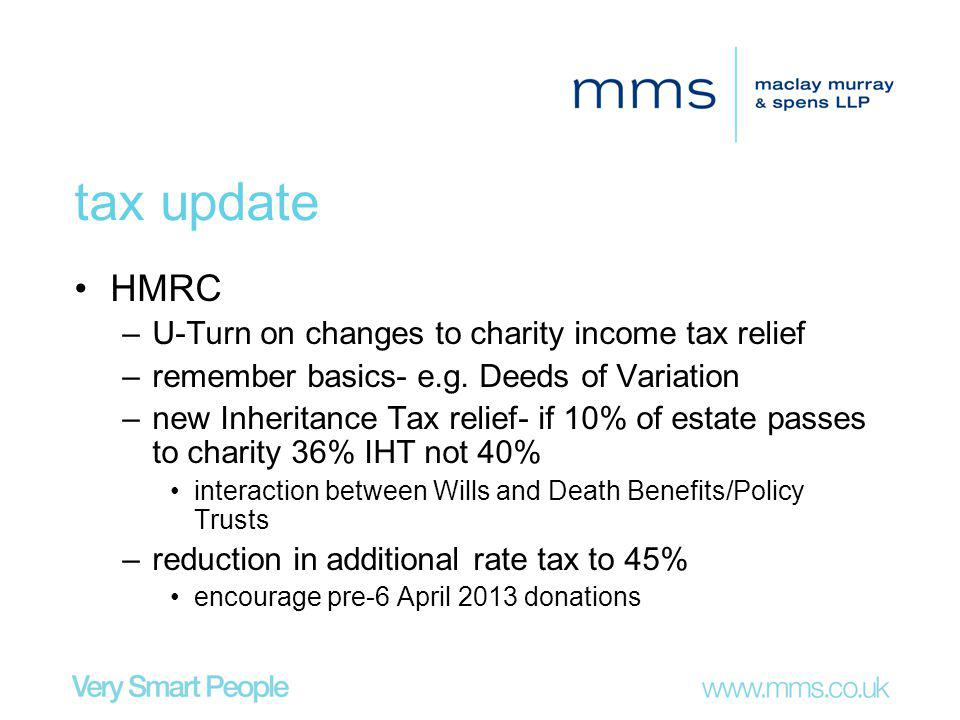 tax update HMRC –U-Turn on changes to charity income tax relief –remember basics- e.g.