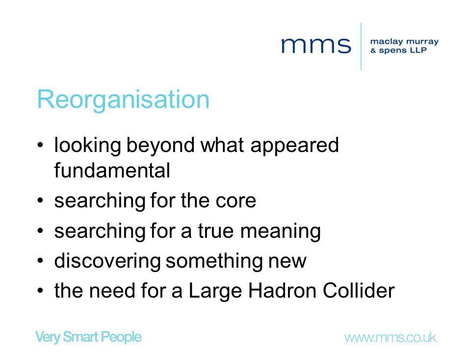Reorganisation looking beyond what appeared fundamental searching for the core searching for a true meaning discovering something new the need for a Large Hadron Collider