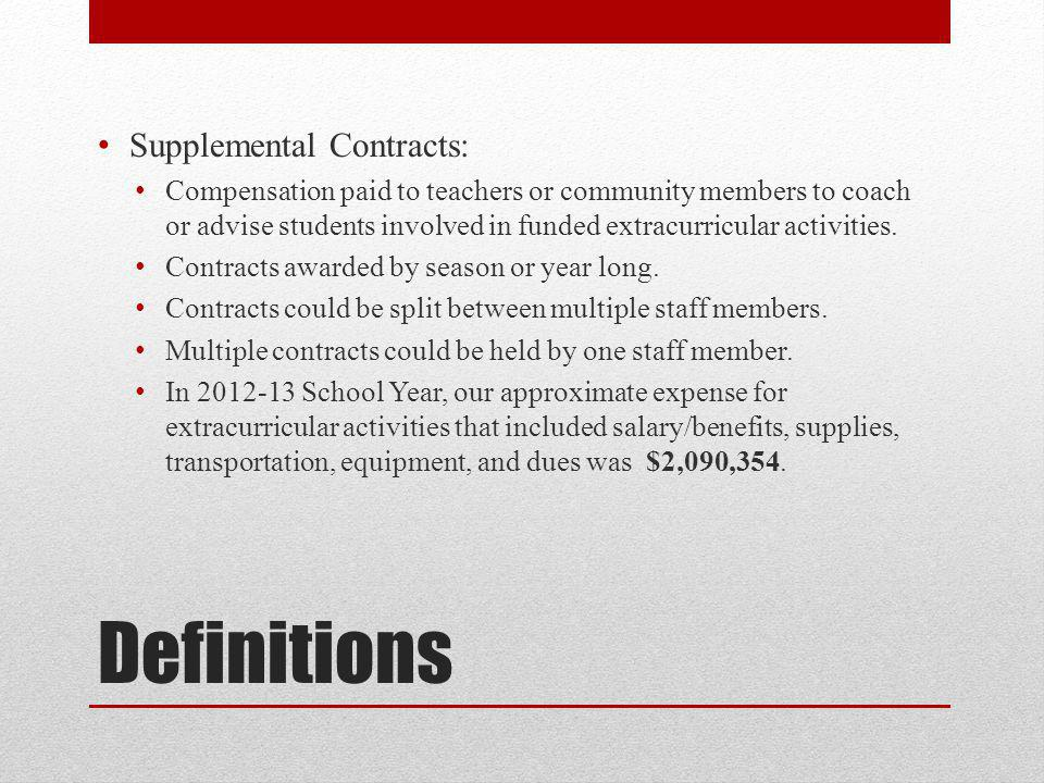 Definitions Supplemental Contracts: Compensation paid to teachers or community members to coach or advise students involved in funded extracurricular activities.
