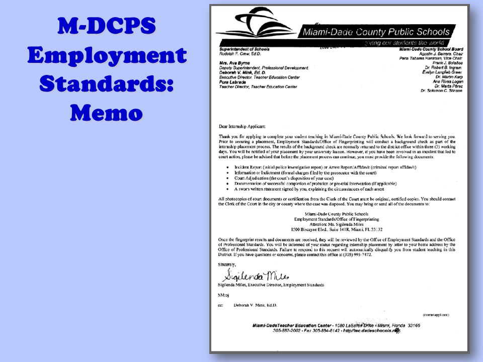 M-DCPS Employment Standards: Memo