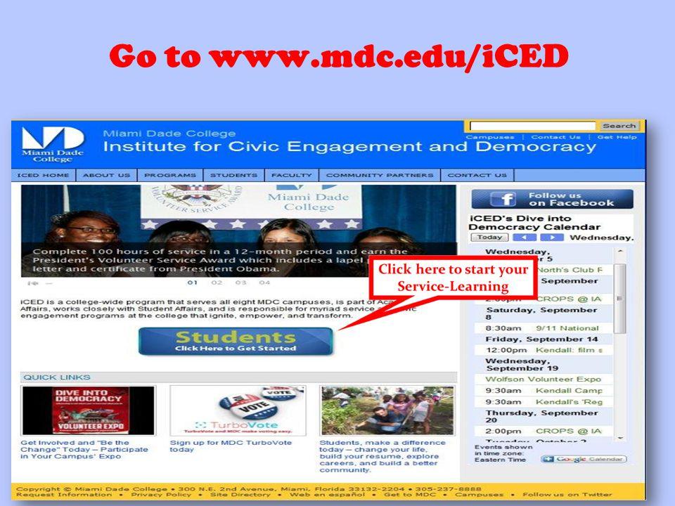Go to www.mdc.edu/iCED