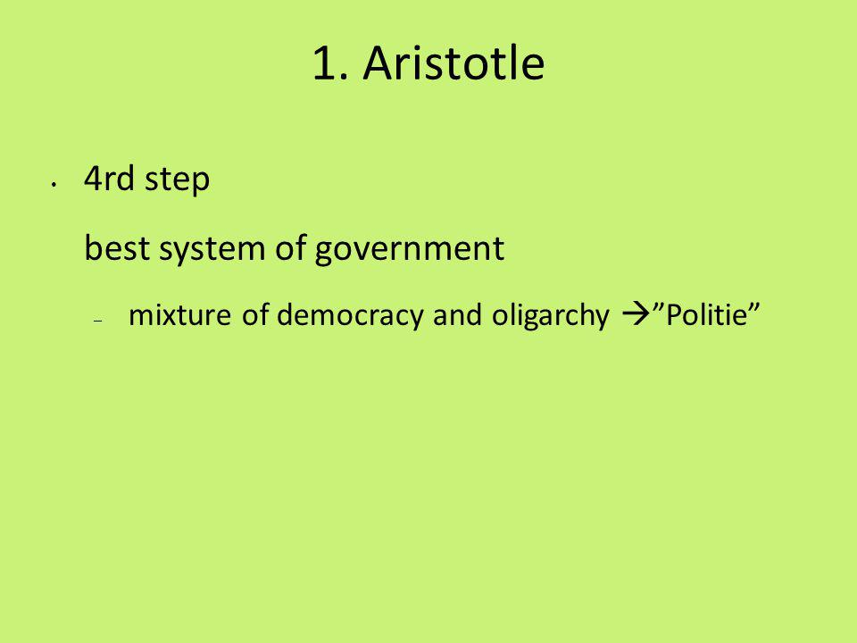 1. Aristotle 4rd step best system of government – mixture of democracy and oligarchy Politie