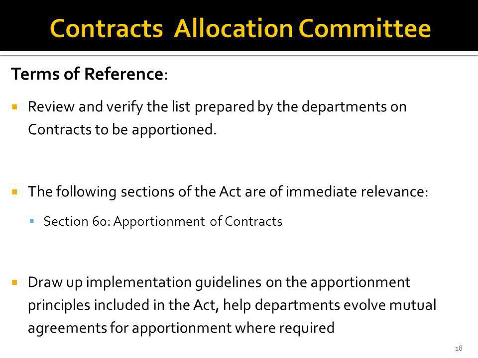 Terms of Reference: Review and verify the list prepared by the departments on Contracts to be apportioned.