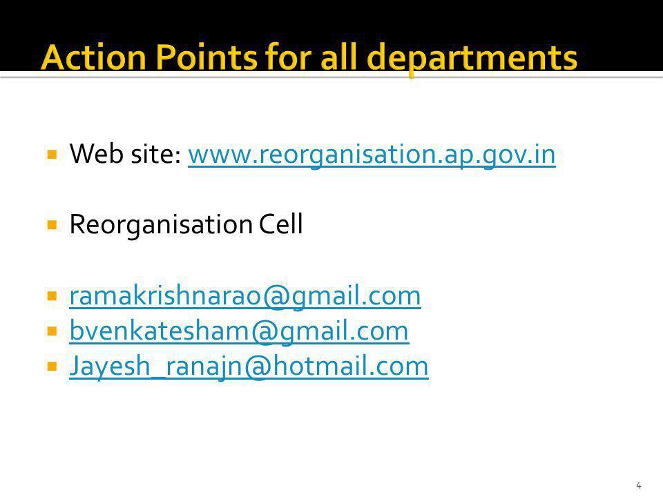 Web site: www.reorganisation.ap.gov.inwww.reorganisation.ap.gov.in Reorganisation Cell ramakrishnarao@gmail.com bvenkatesham@gmail.com Jayesh_ranajn@hotmail.com 4