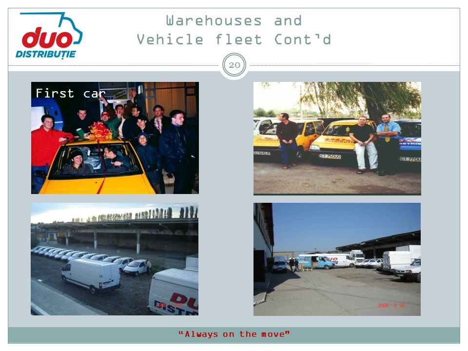 Warehouses and Vehicle fleet Contd 20 First car Always on the move