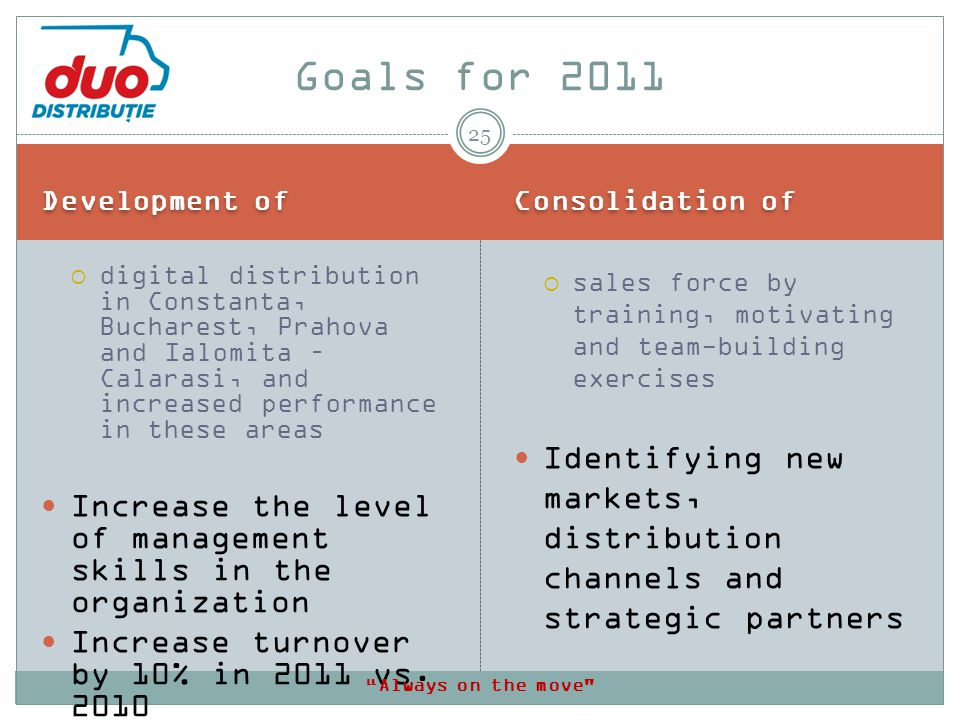 Development of Consolidation of digital distribution in Constanta, Bucharest, Prahova and Ialomita – Calarasi, and increased performance in these areas Increase the level of management skills in the organization Increase turnover by 10% in 2011 vs.