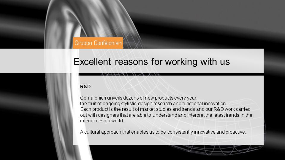 Excellent reasons for working with us R&D Confalonieri unveils dozens of new products every year: the fruit of ongoing stylistic-design research and functional innovation.