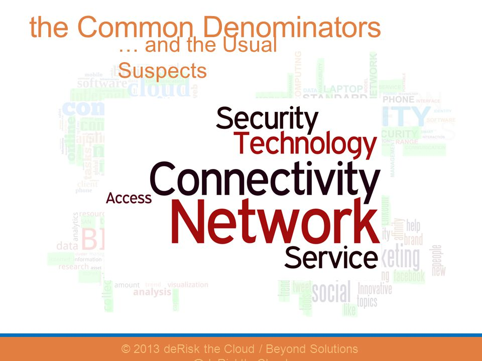 the Common Denominators … and the Usual Suspects © 2013 deRisk the Cloud / Beyond Solutions @deRisktheCloud