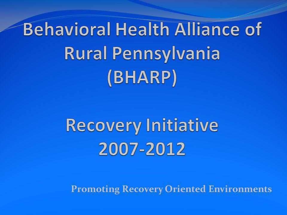 Promoting Recovery Oriented Environments