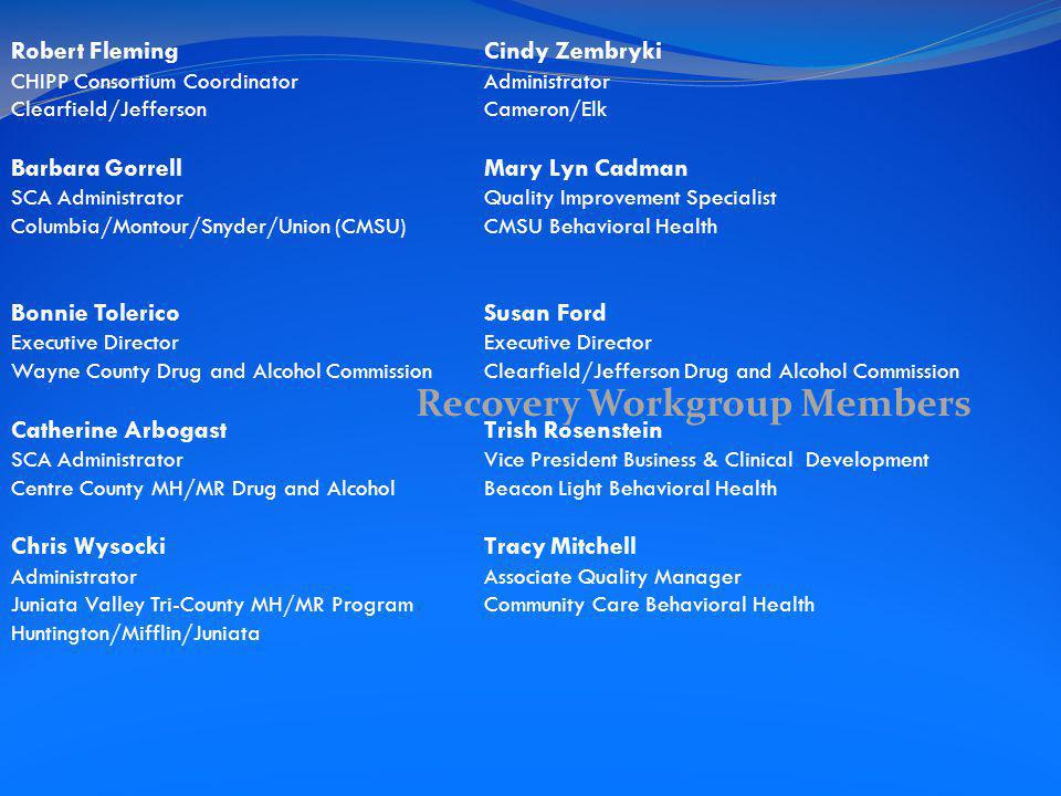 Recovery Workgroup Members Robert Fleming Cindy Zembryki CHIPP Consortium CoordinatorAdministrator Clearfield/JeffersonCameron/Elk Barbara Gorrell Mary Lyn Cadman SCA Administrator Quality Improvement Specialist Columbia/Montour/Snyder/Union (CMSU)CMSU Behavioral Health Bonnie Tolerico Susan FordExecutive Director Wayne County Drug and Alcohol CommissionClearfield/Jefferson Drug and Alcohol Commission Catherine Arbogast Trish Rosenstein SCA Administrator Vice President Business & Clinical Development Centre County MH/MR Drug and AlcoholBeacon Light Behavioral Health Chris Wysocki Tracy Mitchell AdministratorAssociate Quality Manager Juniata Valley Tri-County MH/MR ProgramCommunity Care Behavioral Health Huntington/Mifflin/Juniata