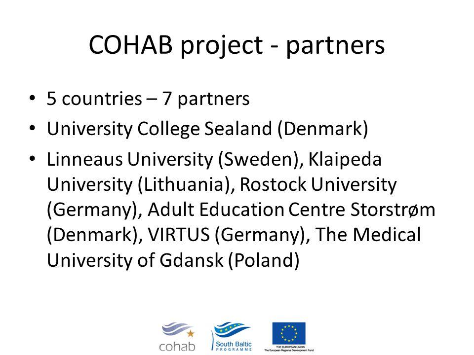 COHAB project - partners 5 countries – 7 partners University College Sealand (Denmark) Linneaus University (Sweden), Klaipeda University (Lithuania),