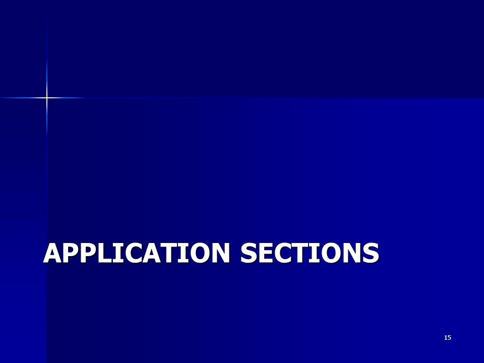 APPLICATION SECTIONS 15