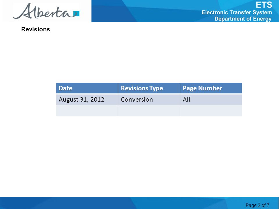 Page 2 of 7 Revisions DateRevisions TypePage Number August 31, 2012ConversionAll
