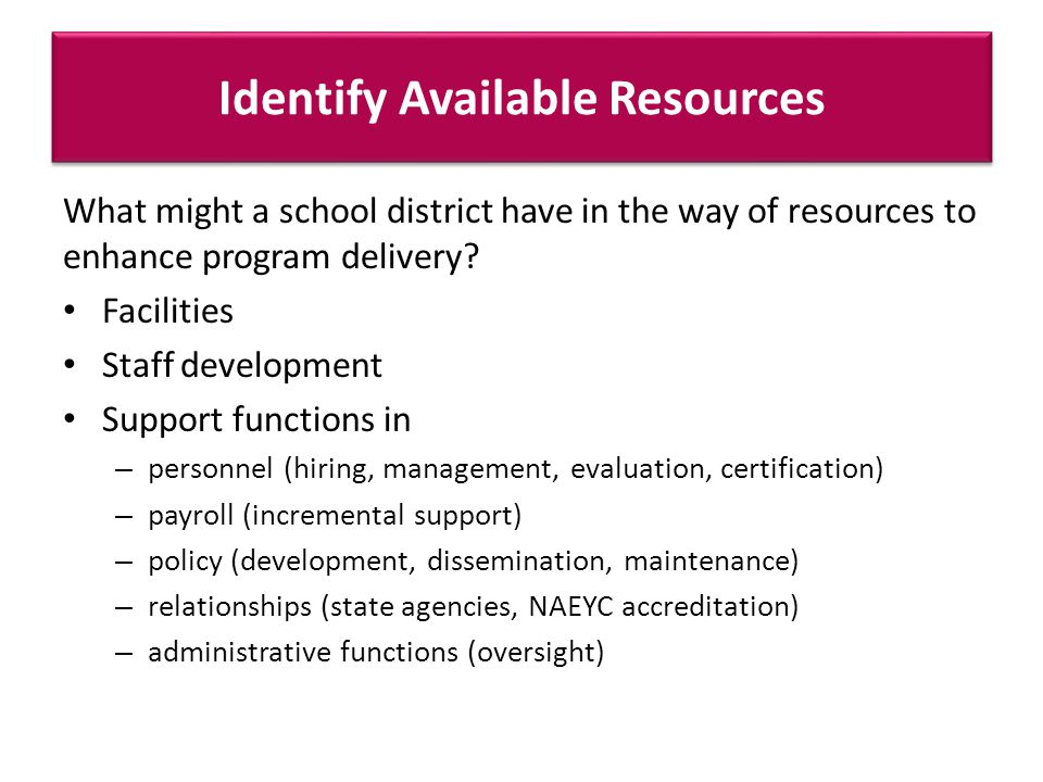 Identify Available Resources What might a school district have in the way of resources to enhance program delivery.