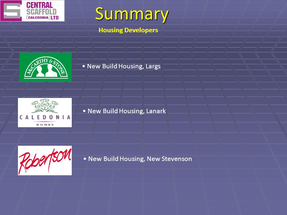 New Build Housing, LargsSummary New Build Housing, Lanark New Build Housing, New Stevenson Housing Developers