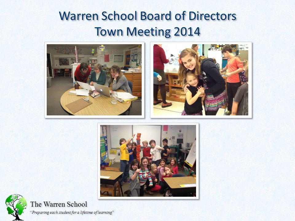 The Warren School Preparing each student for a lifetime of learning Warren School Board of Directors Town Meeting 2014