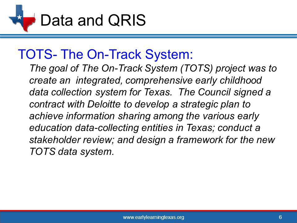 www.earlylearningtexas.org7 Data and QRIS