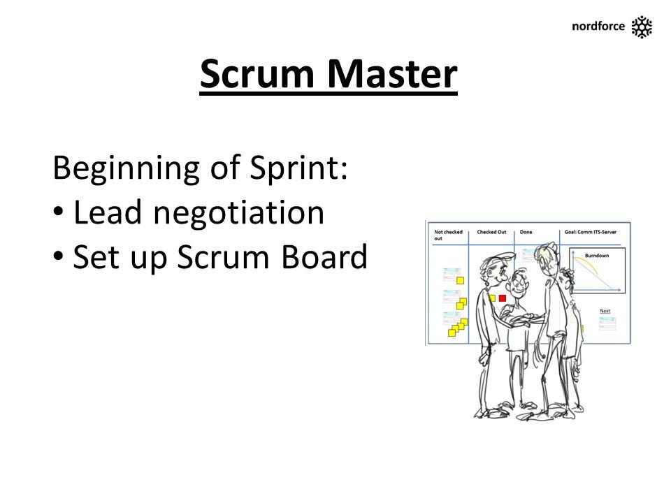 Scrum Master Beginning of Sprint: Lead negotiation Set up Scrum Board