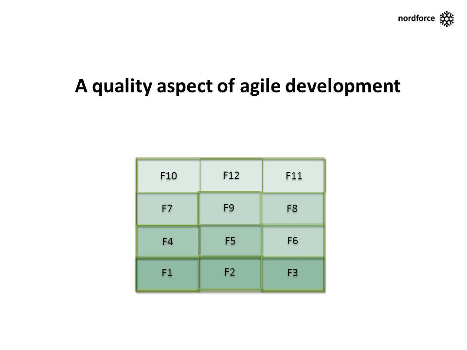 F6 F7 F8 F9 A quality aspect of agile development F12 F10 F11 F5 F4 F2 F1 F3