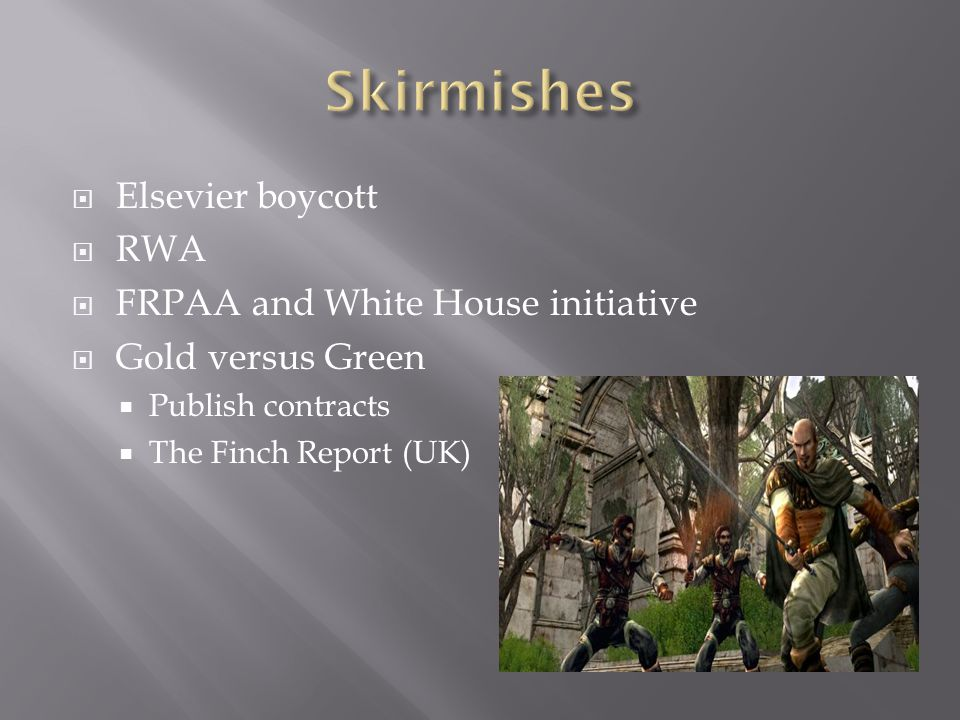 Elsevier boycott RWA FRPAA and White House initiative Gold versus Green Publish contracts The Finch Report (UK)
