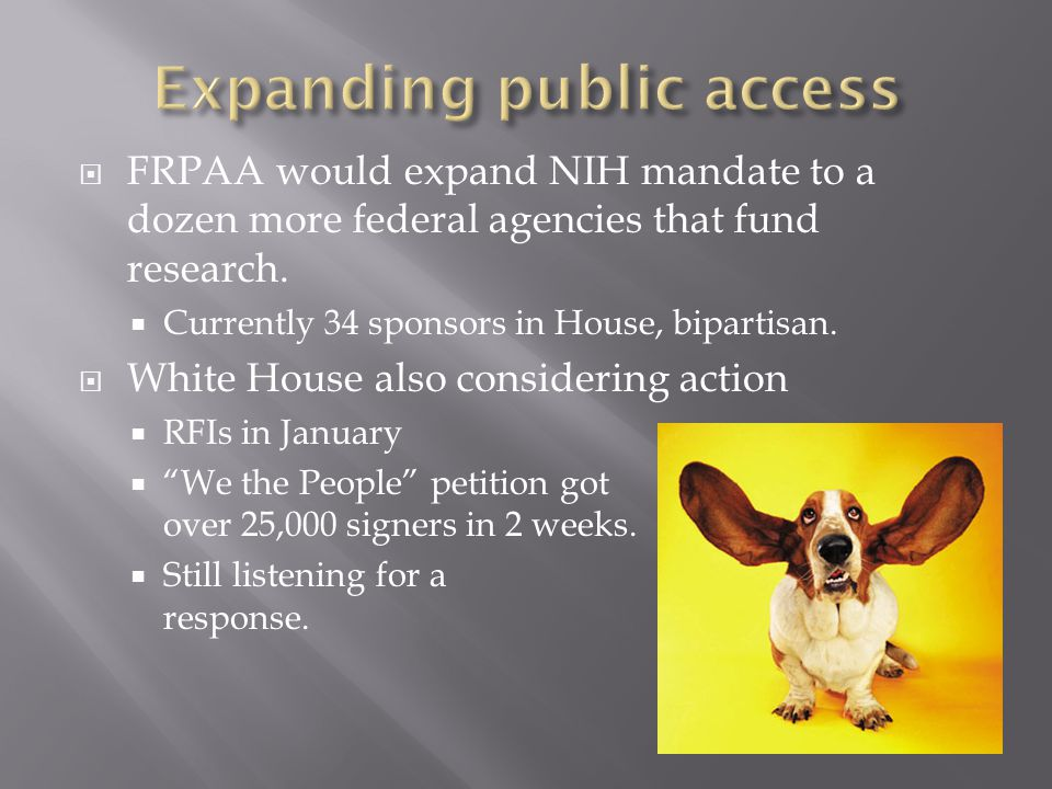 FRPAA would expand NIH mandate to a dozen more federal agencies that fund research.
