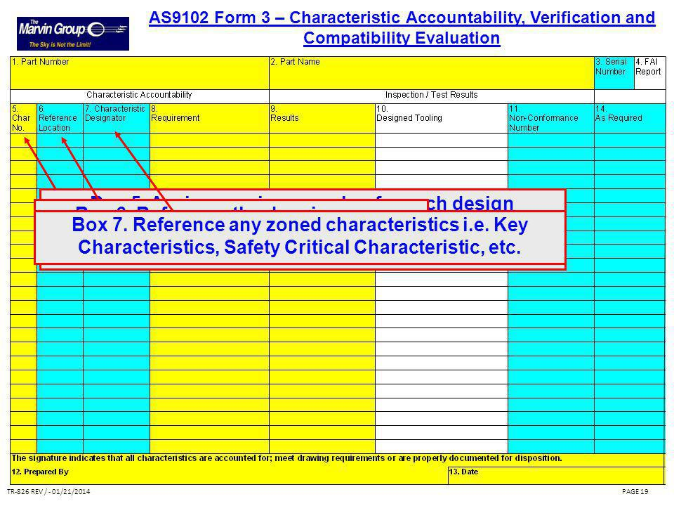 TR-826 REV / - 01/21/2014PAGE 18 Boxes 1 - 4 are repeated on all forms for convenience and traceability. AS9102 Form 3 – Characteristic Accountability