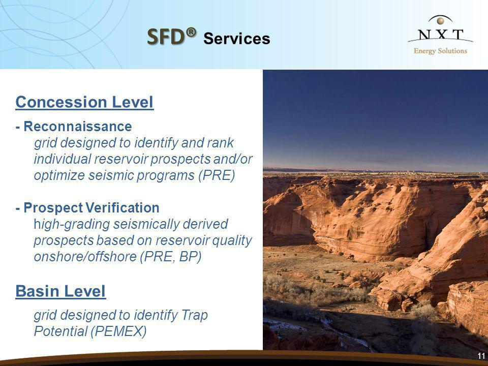 SFD® SFD® Services Concession Level - Reconnaissance grid designed to identify and rank individual reservoir prospects and/or optimize seismic programs (PRE) - Prospect Verification high-grading seismically derived prospects based on reservoir quality onshore/offshore (PRE, BP) Basin Level grid designed to identify Trap Potential (PEMEX) 11