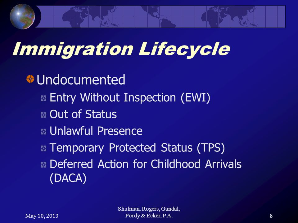 May 10, 2013 Shulman, Rogers, Gandal, Pordy & Ecker, P.A.8 Immigration Lifecycle Undocumented Entry Without Inspection (EWI) Out of Status Unlawful Presence Temporary Protected Status (TPS) Deferred Action for Childhood Arrivals (DACA)