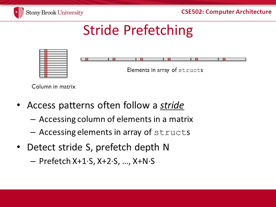 CSE502: Computer Architecture Stride Prefetching Access patterns often follow a stride – Accessing column of elements in a matrix – Accessing elements in array of struct s Detect stride S, prefetch depth N – Prefetch X+1S, X+2S, …, X+NS Column in matrix Elements in array of struct s