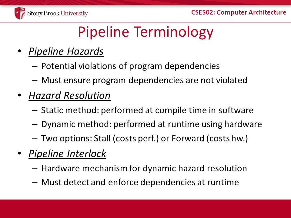 CSE502: Computer Architecture Pipeline Terminology Pipeline Hazards – Potential violations of program dependencies – Must ensure program dependencies