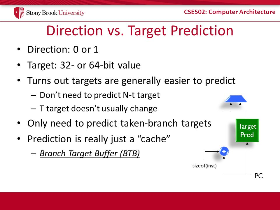 CSE502: Computer Architecture Direction vs. Target Prediction Direction: 0 or 1 Target: 32- or 64-bit value Turns out targets are generally easier to