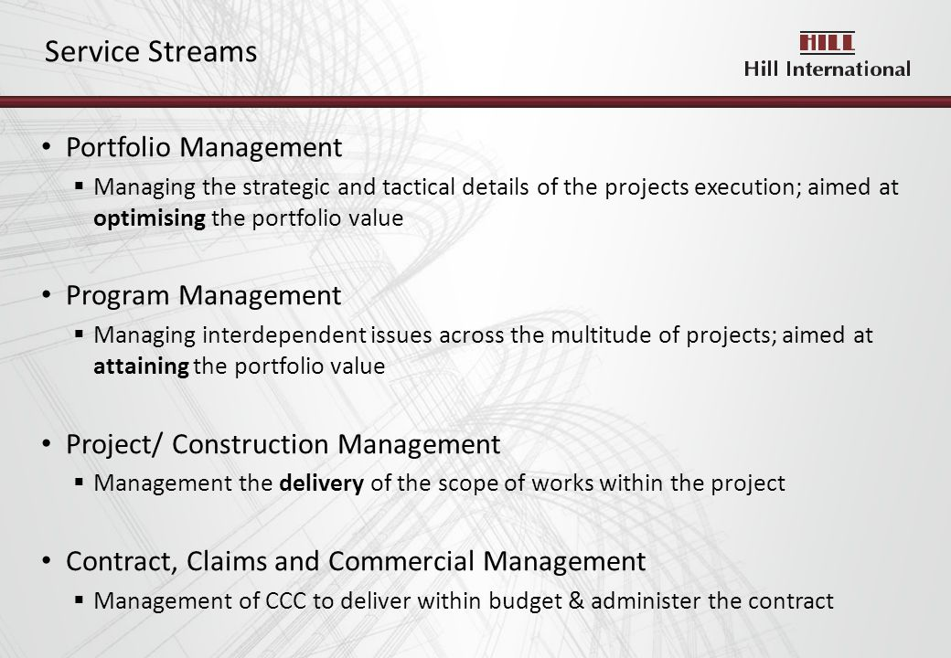 Portfolio Management Managing the strategic and tactical details of the projects execution; aimed at optimising the portfolio value Program Management Managing interdependent issues across the multitude of projects; aimed at attaining the portfolio value Project/ Construction Management Management the delivery of the scope of works within the project Contract, Claims and Commercial Management Management of CCC to deliver within budget & administer the contract Service Streams