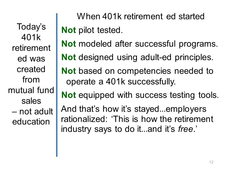 12 When 401k retirement ed started Not pilot tested.