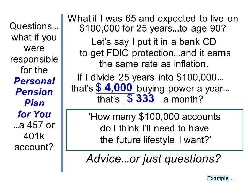 What if I was 65 and expected to live on $100,000 for 25 years … to age 90.